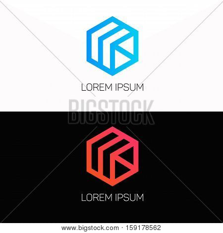 Abstract cube logo company clean icon vector design