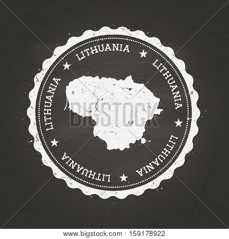 White Chalk Texture Rubber Stamp With Republic Of Lithuania Map On A School Blackboard. Grunge Rubbe