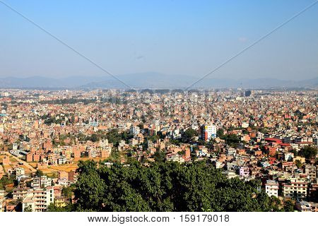 KATHMANDU, NEPAL - OCTOBER 23, 2012: View of Lalitpur city, the third largest city of Nepal after Kathmandu and Pokhara located in the south-central part of Kathmandu Valley.