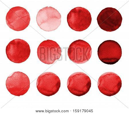 Set Of Burgundy, Brown Color Watercolor Hand Painted Circle Isolated On White. Illustration For Arti