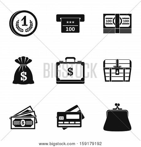 Cash icons set. Simple illustration of 9 cash vector icons for web