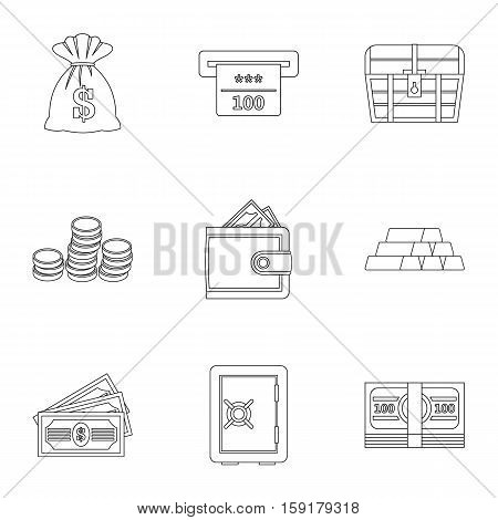 Money icons set. Outline illustration of 9 money vector icons for web
