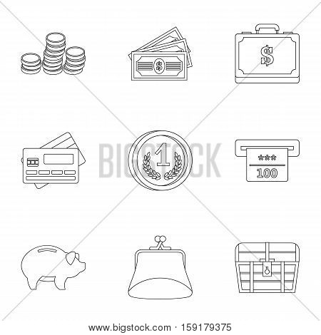 Cash icons set. Outline illustration of 9 cash vector icons for web