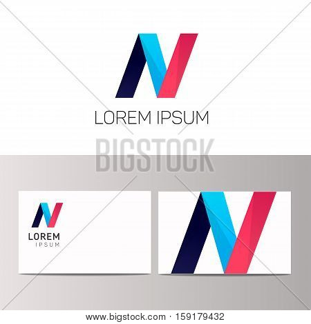 Abstract geometric N letter company logo vector design