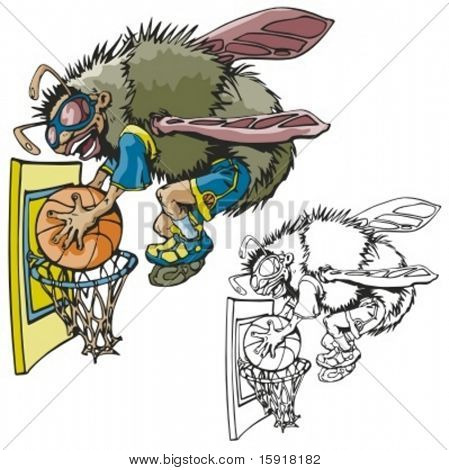 Fly Basketball Mascot. Great for t-shirt designs, school mascot logo and any other design work. Ready for vinyl cutting.