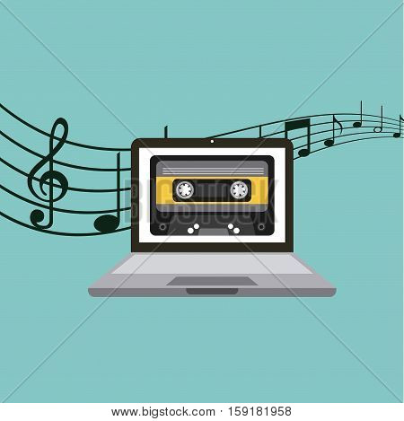 laptop computer with casette tape icon on screen over blue background. music and technology concept. colorful design. vector illustration