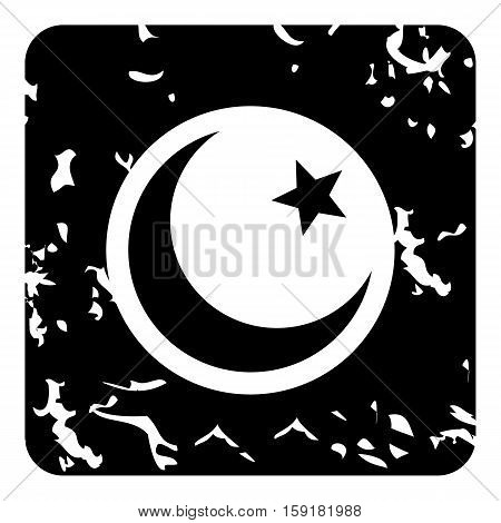 Crescent and star icon. Grunge illustration of crescent and star vector icon for web