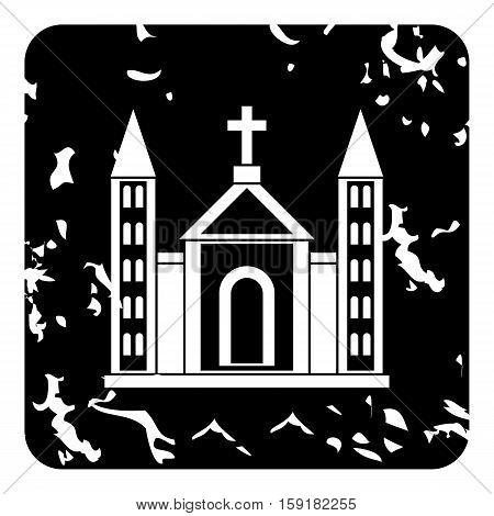 Church christian icon. Grunge illustration of church christian vector icon for web