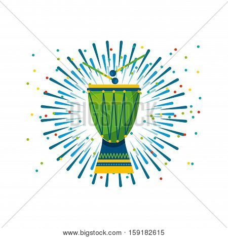 drum instrument of brazil musical culture over white background. colorful design. vector illustration