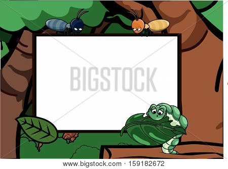 Caterpillar and ant around the forest with banner