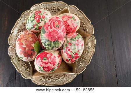 Decorated Easter Eggs On A Plate