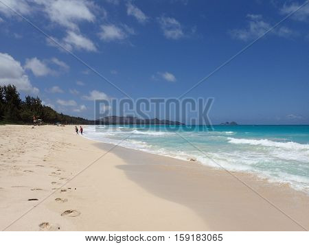 HONOLULU HAWAII - APRIL 25: People on Waimanalo Beach at towards mokulua islands on Oahu Hawaii. April 25 2016.