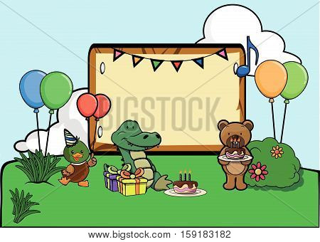Birthday party celebration at park vector illustration design eps 10