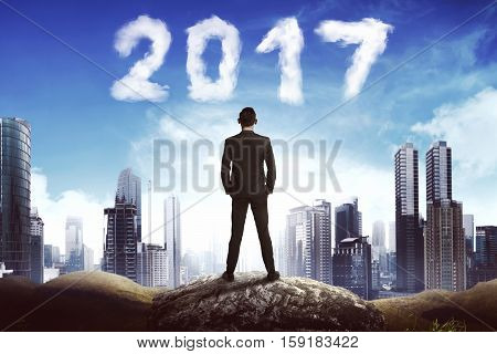 Back View Business Man Looking 2017 Cloud On The Sky