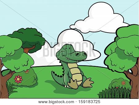 Crocodile and Forest scenery vector illustration design eps 10