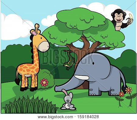 cute animal and Forest scenery vector illustration design eps 10