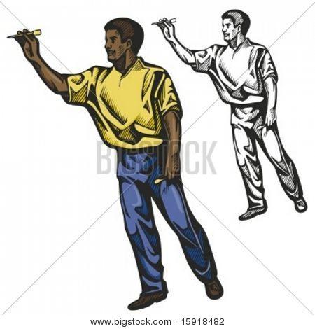 Darts player. Vector illustration