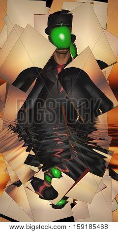 Man in dark suit hidden face partly underwater   3D Render