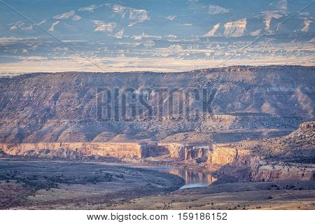 Colorado River in Horsethief Canyon below Grand Junction, sunset light in late fall scenery