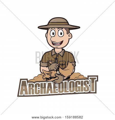 archaeologist logo vector illustration design eps 10