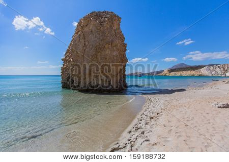 Beautiful Sea beach on the island of Milos, Greece, Aegean sea.
