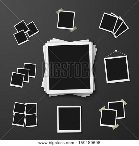 Illustration of Vector Instant Photo. Photorealistic Vector EPS10 Retro Instant Photo Frame Mockup
