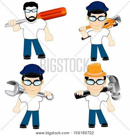 The People of the master with tools for repair.Vector illustration