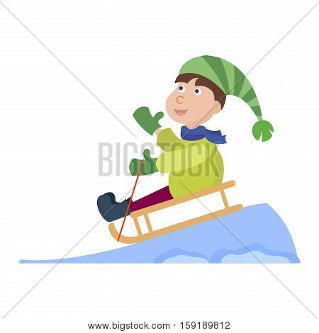 Christmas kid playing winter games. Christmas children playing. Cartoon New Year winter holiday background.