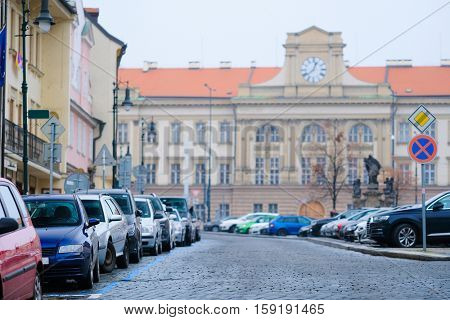 Cars parking on a street in an Old Town of Prague, Czechia