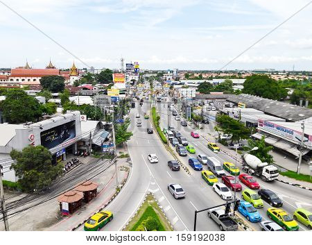 NONTHABURI THAILAND - OCTOBER 1 : Traffic on the road at Mass Rapid Transit Authority of Thailand (MRTA) or MRT Purple Line at Bangyai station on October 1 2016 in Nonthaburi Province Thailand