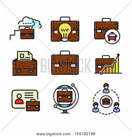 suit case icon set color vector illustration design eps 10