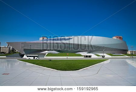BAKU, AZERBEIJAN-OCT 4, 2016: Congress Center building in Baku on Oct 4, 2016 , Azerbaijan. Construction of the centre, which is located near Heydar Aliyev Centre, started in February, 2014.