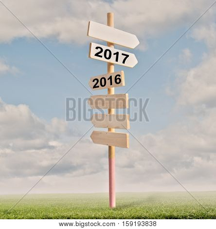 road signs on the grass. Start of year 2017 concept