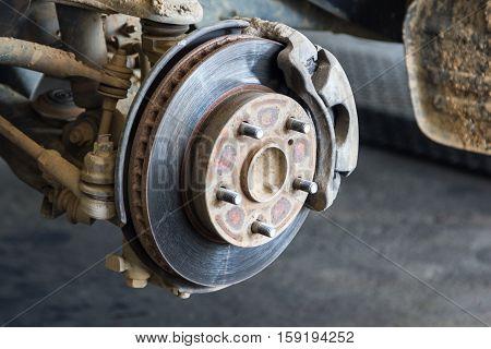 front disk brake on car close up