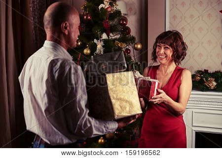Mid shot of middle-aged couple exchanging gifts while standing near Christmas tree. Concept of New Year and Christmas. Holding boxes in hands