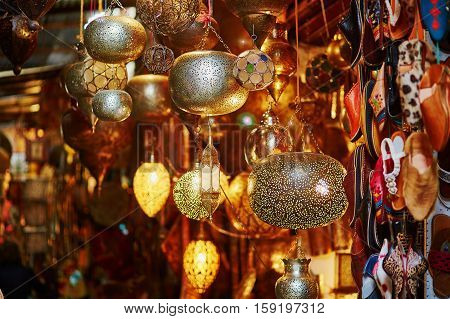 Selection Of Traditional Lamps On Moroccan Market In Marrakech, Morocco