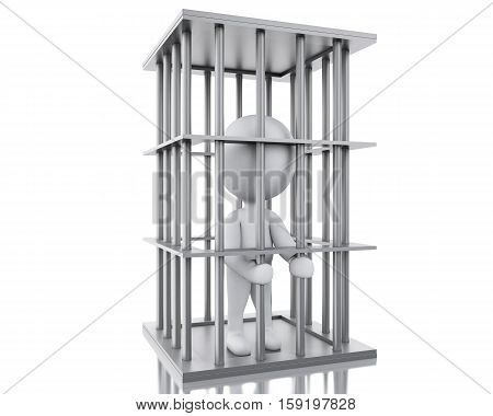 3d renderer image. White people in prison. Isolated white background.