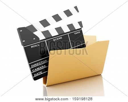 3d renderer image. Folder with cinema clapper. Cinema concept. Isolated white background.