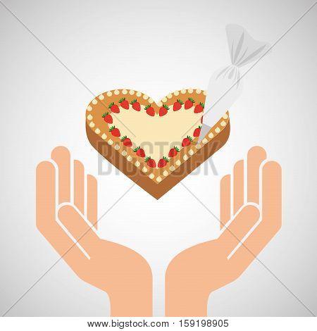 hands food preparing cake ht decor vector illustration eps 10