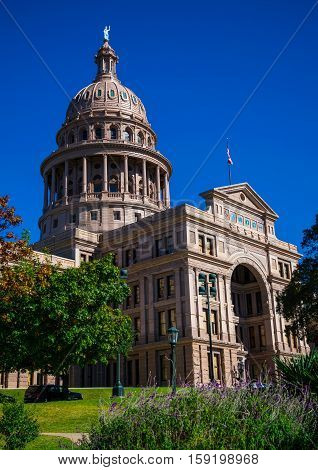 Vertical Texas State capital building Austin TX blue sky day at the government tower in central texas