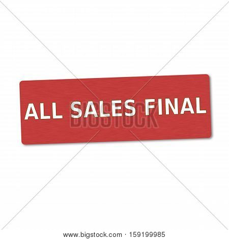 all sales final white wording on red wood background