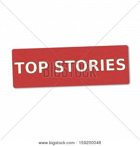 top stories white wording on red wood background