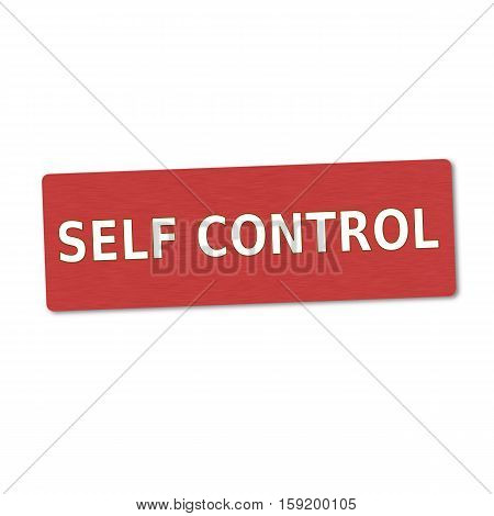 self control white wording on red wood background