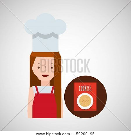 cooker girl cookie mix vector illustration eps 10 poster