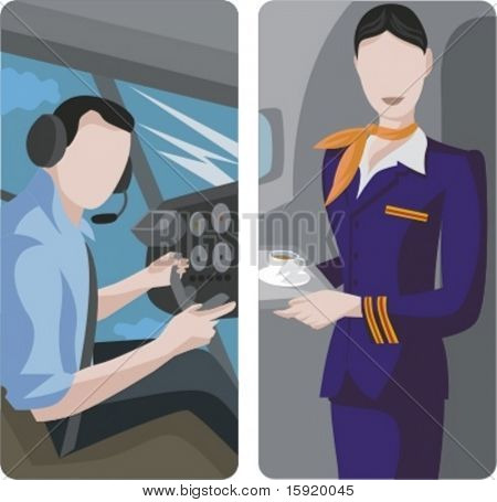 A set of 2 vector worker illustrations. 1) Pilot in the airplane cockpit. 2) Air-hostess serving a drink.