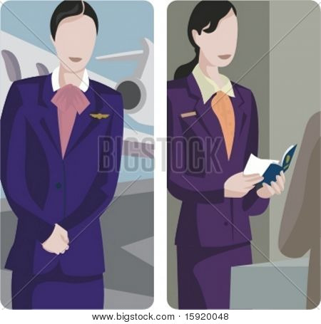 A set of 2 vector illustrations: 1) air-hostess; 2) airport employee.
