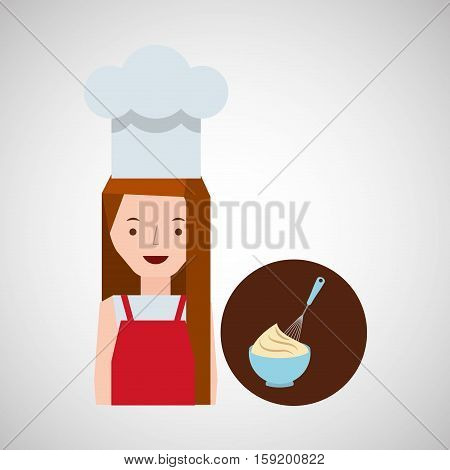 cooker girl beater mix dough vector illustration eps 10