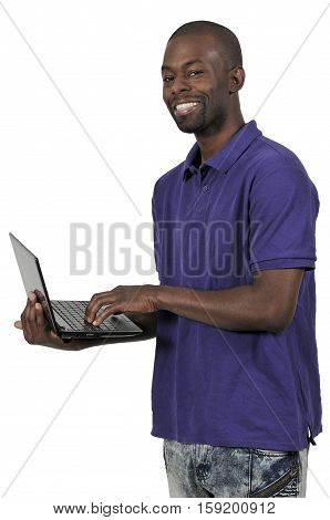 Black Man Using Computer