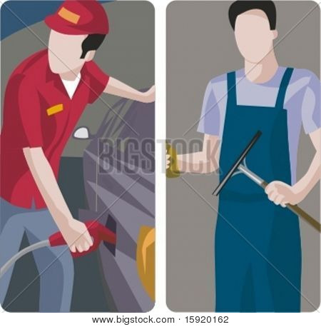 A set of 2 vector worker illustrations. 1) Worker refueling car at petrol station. 2) Worker washing windows.