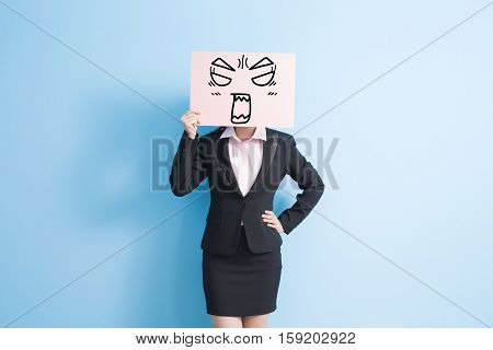 business woman take angry billboard isolated blue background